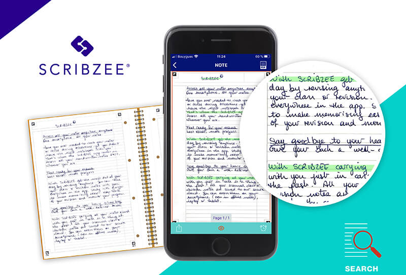SCRIBZEE app with an integrated handwritten text search engine