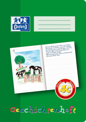 Oxford Learning systems A4 history exercise book - ruling 4G-32 pages-90 gsm Optik Paper® -left side for free design-right side for writing- stapled-green - 100050098_1100_1583237145