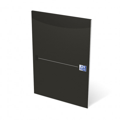 OXFORD Office Essentials Notepad - A4 - Soft Card Cover - Glued - 100 Pages - 5mm Squares - Black - 100050241_1300_1583237182