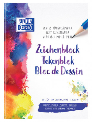 Oxford Bloc de dessin - A4 - Couverture Souple - Blanco - 20 Vel - 100050321_1100_1559850167
