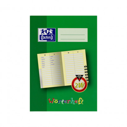 Oxford Learning systems A5 lexicon exercise book - ruling 2W-56 pages-90 gsm Optik Paper® -alphabetic register-stapled-green - 100059868_1100_1559303860