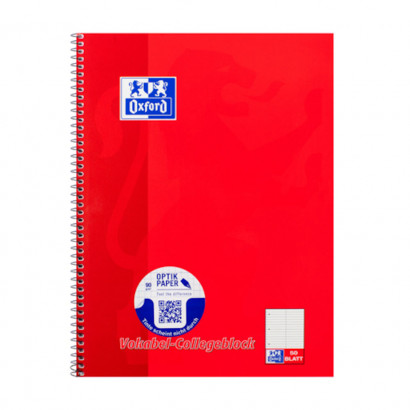 Oxford A4+ vocabulary exercise book, ruling 53 ( 2 coloumns), 100 pages, 90 gsm Optik Paper® , spiral binding, 4 hole punched, micro-perforated, easy to tear out, red -  - 100061259_1100_1561070360