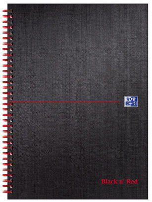 Oxford Black n' Red A4 Matt Hardback Wirebound Notebook Ruled 140 Page Black Scribzee-enabled -  - 100080173_1100_1561095082