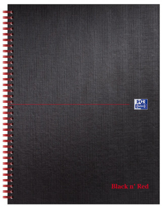 Oxford Black n' Red A4+ Matt Hardback Wirebound Notebook Ruled with Margin 140 Page Black Scribzee-enabled -  - 100080218_1100_1561095098