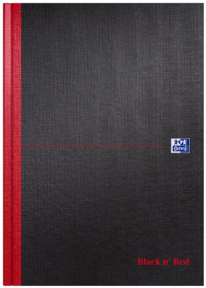Oxford Black n' Red A4 Hardback Casebound Notebook Narrow Ruled with Margin 96 Page Black -  - 100080428_1100_1561077504