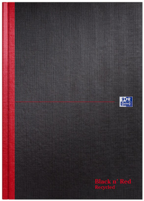 Oxford Black n' Red A4 Hardback Casebound Notebook Ruled 192 Page Recycled Black -  - 100080530_1100_1561094916