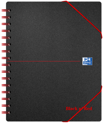 Oxford Black n' Red A5+ Poly Cover Wirebound Meeting Book Ruled with Margin 160 Page Black Scribzee-enabled -  - 100100893_1100_1554292107