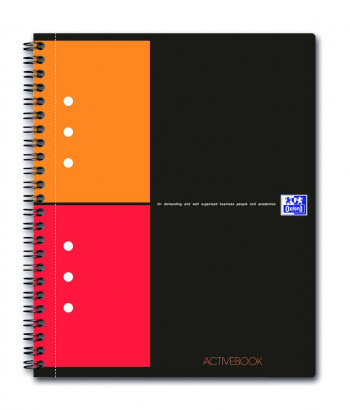 OXFORD International Activebook - A5+ –polypropenomslag – dubbelspiral – 5mm-rutor – 160 sidor – SCRIBZEE®-kompatibel – grå - 100102880_1100_1583238351