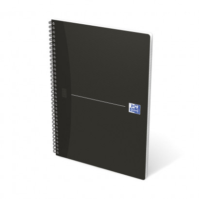 OXFORD Office Essentials Notebook - A4 - Soft Card Cover - Twin-wire - Ruled - 180 Pages - SCRIBZEE® Compatible - Black - 100102931_1301_1583238369