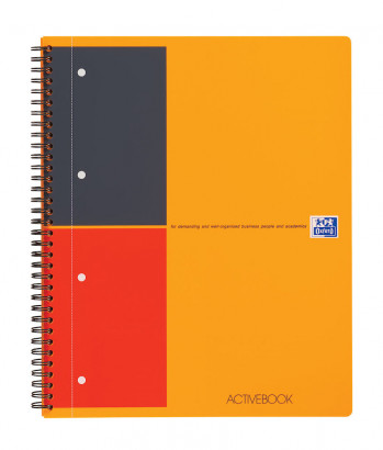 OXFORD International Activebook - A4+ - Polypropylene Cover - Twin-wire - Narrow Ruled - 160 Pages - SCRIBZEE® Compatible - Orange - 100102994_1101_1583194094