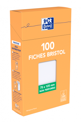 OXFORD Index Cards - 7,5x12,5cm - Boxed - Unpunched - Plain - 100 Cards - White - 100103349_1300_1595582206