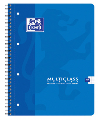 OXFORD CLASSIC MULTICLASS NOTEBOOK - A4+ - Soft card cover - Twin-wire - Seyès Squares - 180 pages - Assorted colours - 100103772_1100_1583238630