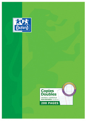 OXFORD CLASSIC DOUBLE SHEETS - A4 - Cardboard Box  - Seyès Squares - 200 unpunched pages - 100104069_1100_1583238758