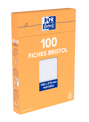 OXFORD Index Cards - A5 - Boxed - Hole-punched - 5mm Squares - 100 Cards - White - 100104874_1300_1595582197