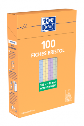 OXFORD Index Cards - A6 - Boxed - Unpunched - 5mm Squares - 100 Cards - Assorted - 100105304_1300_1595592673