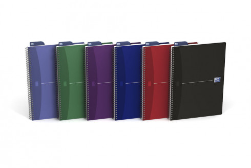 OXFORD Office Essentials Notebook - A4 - Soft Card Cover - Twin-wire - Ruled - 180 Pages - SCRIBZEE® Compatible - Assorted Colours - 100105331_1200_1583182894