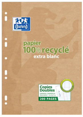 OXFORD RECYCLED DOUBLE SHEETS - A4 - Cardboard Box - Seyès Squares - 200 punched pages - 100105676_1100_1583239382