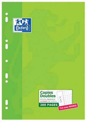 OXFORD CLASSIC DOUBLE SHEETS - A4 - Cardboard Box - 5x5mm squares with margin - 200 punched pages - 100105678_1100_1583239386
