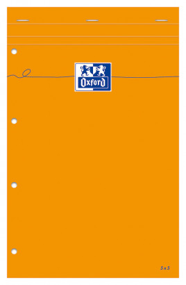 Oxford Bloc-Notes Orange - A4+ - Couverture Enduite - Agraphé - Petits carreaux 5x5 - 160 Pages - Compatible SCRIBZEE ® - Orange - 100106283_1100_1583181755