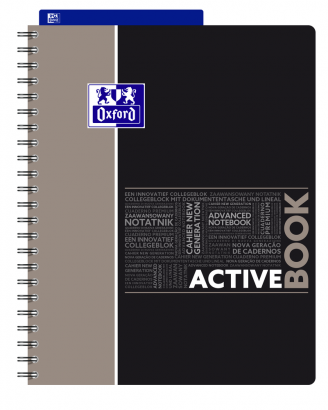 OXFORD STUDENTS ACTIVEBOOK Notebook - A4+ - Polypro cover - Twin-wire - Seyès Squares - 160 pages - SCRIBZEE® compatible  - Assorted colours - 400019519_1101_1553278771