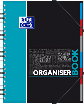 OXFORD STUDENTS ORGANISERBOOK Notebook - A4+ - Polypro cover - Twin-wire - Seyès Squares - 160 pages - SCRIBZEE® compatible - Assorted colours - 400019523_1100_1553278807