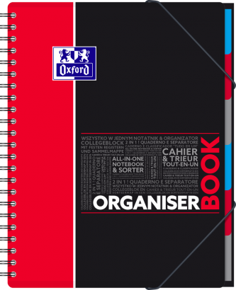 OXFORD STUDENTS ORGANISERBOOK Notebook - A4+ - Polypro cover - Twin-wire - 5mm Squares - 160 pages - SCRIBZEE® compatible - Assorted colours - 400019524_1102_1583240386