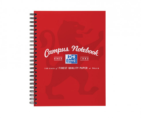 Oxford Campus A5+ Card Cover Wirebound Notebook Ruled with Margin 140 Pages Red -  - 400035952_1100_1561078420