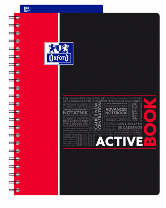 OXFORD STUDENTS ACTIVEBOOK Notebook - A4+ - Polypro cover - Twin-wire - 7mm Ruled - 160 pages - SCRIBZEE® compatible - Assorted colours - 400037402_1102_1559310842