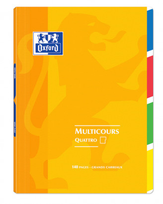 OXFORD OPENFLEX QUATTRO NOTEBOOK -  24x32cm - Polypro cover - Stapled - Seyès squares - 140 pages - Assorted colours - 400037657_1100_1583240968