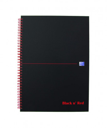 OXFORD Black n' Red Notebook - A4 - Hardback Cover - Twin-wire - 5mm Squares - 140 Pages - SCRIBZEE® Compatible - Black - 400047609_1100_1583161883