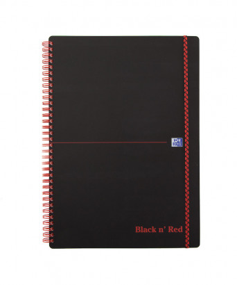 OXFORD Black n' Red Notebook - A4 - Polypropylene Cover - Twin-wire - Ruled - 140 Pages - SCRIBZEE® Compatible - Black - 400047653_1100_1583164330