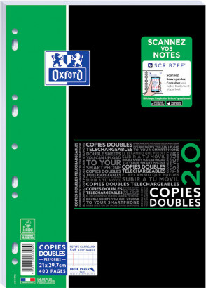 OXFORD ETUDIANTS COPIES DOUBLES - A4+ - Sous film - petits carreaux 5x5mm - 400 pages perforées - Compatibles SCRIBZEE® - 400051590_1100_1553284249