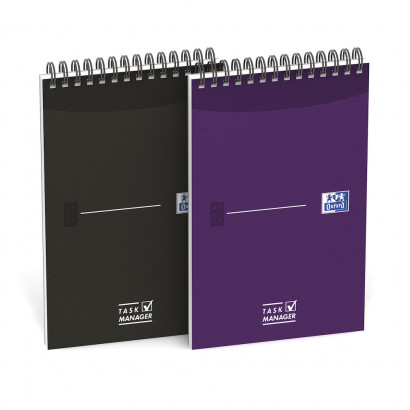 OXFORD Office Essentials Task Manager - 12,5x20cm - Soepele Kartonnen Kaft - Dubbelspiraal - 70 Vel - Specifieke Liniatuur - Assorti - 400055727_1400_1583241922