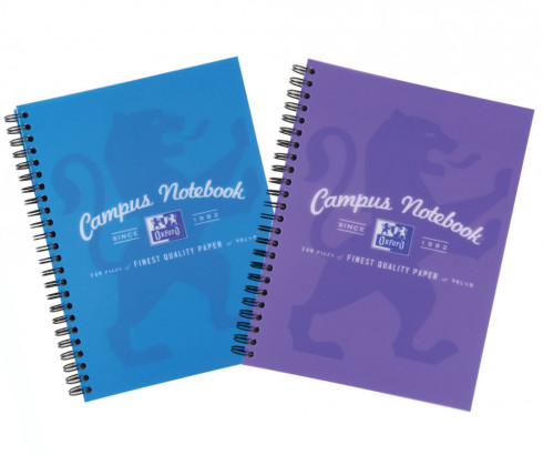 Oxford Campus A4+ Purple/Blue PP Cover Wirebound Notebook Ruled with Margin 140 Pages -  - 400060196_1200_1553649647