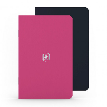 OXFORD Pocket Notes Notebook - 9x14cm - Soft Card Cover - Stapled - Ruled - 48 Pages - Fuchsia/Black (Pack of 2) - 400077715_1101_1559423455