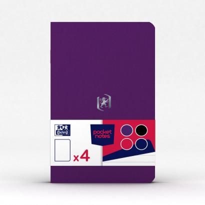 OXFORD Pocket Notes Notebook - 9x14cm - Soft Card Cover - Stapled - Ruled - 48 Pages - Assorted Mixed Colours (Pack of 4) - 400077737_1100_1594290049