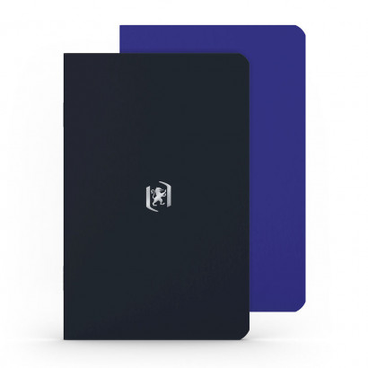 OXFORD Pocket Notes Notebook - 9x14cm - Soft Card Cover - Stapled - Ruled - 48 Pages - Royal Blue/Black (Pack of 2) - 400077743_1101_1561076147