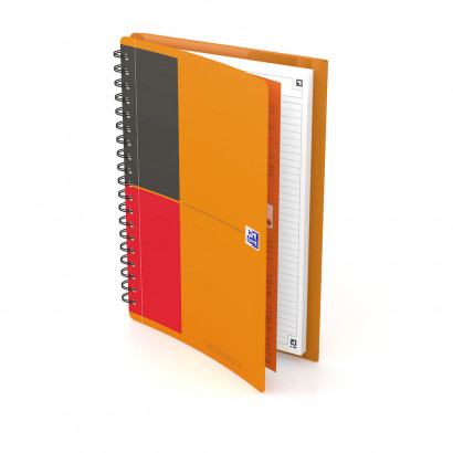 OXFORD International Meetingbook - B5 - Hardback Cover - Twin-wire - Narrow Ruled - 160 Pages - SCRIBZEE® Compatible - Orange - 400080789_1600_1583243431