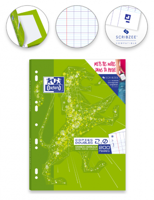 OXFORD 2.0 DOUBLE SHEETS - A4 - Cardboard Box - Seyès Squares - 200 punched pages - SCRIBZEE® Compatibles - 400085126_1100_1583147651 - OXFORD 2.0 DOUBLE SHEETS - A4 - Cardboard Box - Seyès Squares - 200 punched pages - SCRIBZEE® Compatibles - 400085126_2300_1583149838