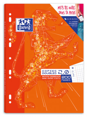 OXFORD 2.0 DOUBLE SHEETS - A4 - Cardboard Box - 5x5mm Squares with margin - 200 punched pages - SCRIBZEE® Compatibles  - 400085127_1100_1553284403