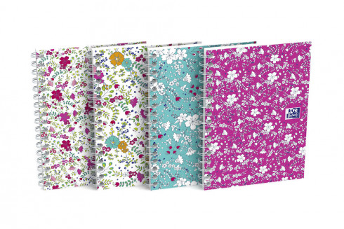 OXFORD Floral Notebook - A6 - Soft Card Cover - Twin-wire - 5mm Squares - 100 Pages - Assorted Colours - 400094826_1200_1553572724
