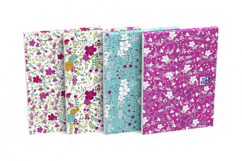 OXFORD Floral Notepad - A6 - Soft Card Cover - Stapled - Ruled - 160 Pages - Assorted Colours - 400094827_1200_1553572742