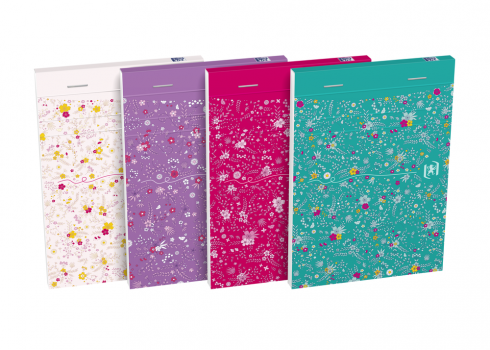 OXFORD Floral Notepad - A6 - Soft Card Cover - Stapled - Ruled - 160 Pages - Assorted Colours - 400094827_1400_1618996617