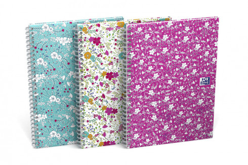 OXFORD Floral Notebook - A5 - Hardback Cover - Twin-wire - 5mm Squares - 120 Pages - SCRIBZEE® Compatible - Assorted Colours - 400094951_1100_1559321111