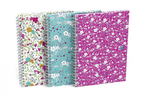 OXFORD Floral Notebook - B5 - Hardback Cover - Twin-wire - 5mm Squares - 120 Pages - SCRIBZEE® Compatible - Assorted Colours - 400094955_1200_1553572668