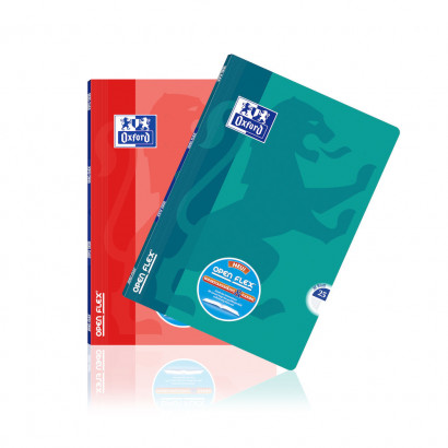 Oxford OpenFlex® A4 exercise book - ruling 25 (ruled with margin)-64 pages-90 gsm Optik Paper® -stapled-coral and blue - 400095631_1200_1553593927