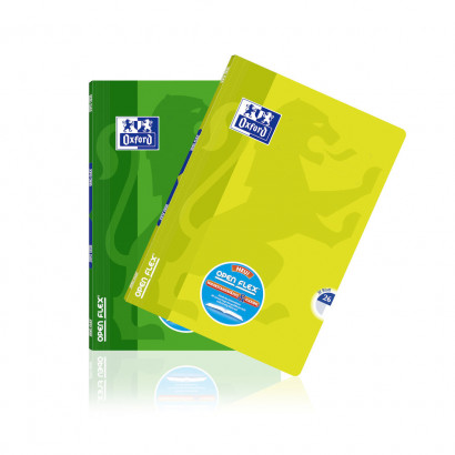 Oxford OpenFlex® A4 exercise book - ruling 26 (5 mm squared with margin)- 64 pages-90 gsm Optik Paper® -stapled-lemon and green - 400095632_1200_1553593930