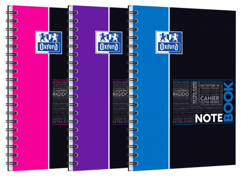 OXFORD ETUDIANTS Cahier NOTEBOOK - B5 tablette - Couverture carte rigide - Double spirale - Grands carreaux Seyès - 160 pages - Compatible SCRIBZEE® - Couleurs assorties - 400100698_1200_1583207844