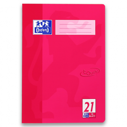 Oxford TOUCH Schulheft - A4 - Lineatur 21 - 16 Blatt - 90 g/m² OPTIK PAPER® - geheftet - Fuchsia - 400104366_1100_1576831890