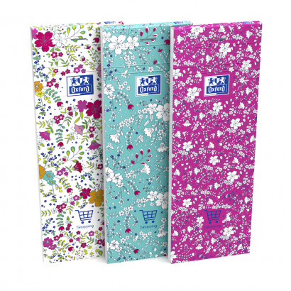 OXFORD Floral Shopping Notepad - 7,4x21cm - Soft Card Cover - Stapled - Ruled - 160 Pages - Assorted Colours - 400111054_1400_1553573980